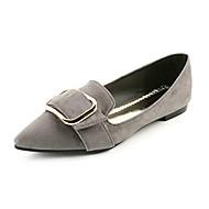 Dame Flate sko Komfort PU Vår Sommer Avslappet Formell Komfort Flat hæl Svart Grå Rosa Under 2,5 cm