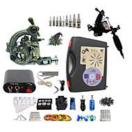 billige Tatoveringssett for nybegynnere-BaseKey Tattoo Machine Startkit, 2 pcs tattoo maskiner med 10 x 5 ml tatovering blekk - 1 x stål tatoveringsmaskin til lining og