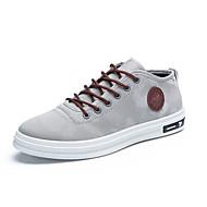 Herre sko Lerret Vår Sommer Vulkaniserte sko Treningssko Snøring til Avslappet Svart Mørkeblå Grå Burgunder