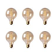 billige Glødelampe-Ecolight™ 6pcs 40W E26/E27 G80 2300 K Glødende Vintage Edison lyspære AC 220-240V V