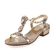 Women's Sandals Spring Summer Fall Club Shoes Novelty Customized Materials Glitter Casual Dress Low Heel Buckle Gold Sliver