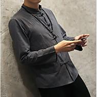 Majica Muškarci - Kinezerije Dnevno Pamuk Lan Jednobojni Kineski ovratnik