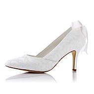 baratos Sapatos Femininos-Mulheres Sapatos Sintético / Cetim Primavera / Verão Saltos Salto Agulha Dedo Apontado Tira Trançada Ivory / Casamento / Festas & Noite