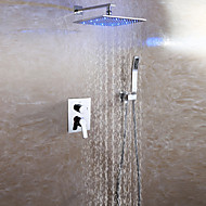Contemporary Wall Mounted Rain Shower Handshower Included LED Ceramic Valve Two Handles Three Holes Chrome , Shower Faucet