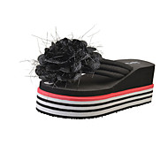 Dames Slippers & Flip-Flops Comfortabel PU Lente Zomer Causaal Formeel Comfortabel Bloem Platte hak Wit Zwart Rood Plat