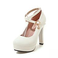 olcso -Kényelmes-Vastag-Női cipő-Magassarkúak-Irodai Ruha Alkalmi-Bőrutánzat-Fekete Piros Fehér
