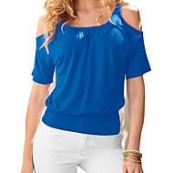 Bomull T-skjorte Dame - Ensfarget / Fargeblokk Aktiv Strand / Vår / Sommer