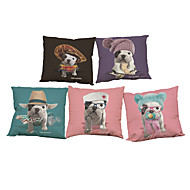 Set of 5 Cute Bulldogs  pattern  Linen Pillow Case Bedroom Euro Pillow Covers 18x18 inches  Cushion cover