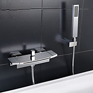 Contemporary Tub And Shower Waterfall Widespread with  Ceramic Valve Two Handles Two Holes for  Chrome , Bathtub Faucet