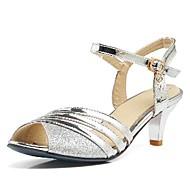 baratos Sapatos Femininos-Mulheres Sapatos Couro Ecológico Primavera / Verão Sandálias Salto Agulha Peep Toe Presilha Dourado / Preto / Prateado / Casamento