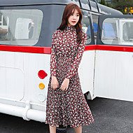 vinter nye Kvinder koreanske langærmet kjole var tynd lange stykke blomstret print kjole lavpunkt