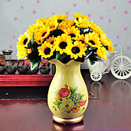 billige Kunstige blomster-1 Gren Polyester Solsikker Bordblomst Kunstige blomster 7.5
