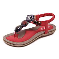 baratos Sapatos Femininos-Mulheres Sapatos Couro Ecológico Primavera / Verão Conforto / Inovador Sandálias Caminhada Sem Salto Elástico Vermelho / Rosa claro /