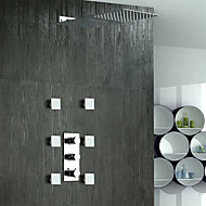 Contemporary Shower System Waterfall Rain Shower Widespread Brass Valve Five Holes Three Handles Five Holes Chrome , Shower Faucet