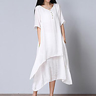 cheap -Women's Loose Dress - Solid V Neck