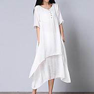 Χαμηλού Κόστους -Γυναικεία Μεγάλα Μεγέθη Βαμβάκι Φαρδιά Φόρεμα - Μονόχρωμο, Επίπεδα Μίντι Λαιμόκοψη V Άσπρο / Καλοκαίρι