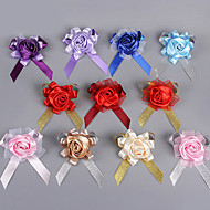 Wedding Flowers Round Roses Boutonnieres Wedding Party/ Evening Polyester Satin Silk Organza