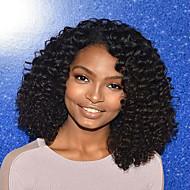 Naisten Aitohiusperuukit verkolla Aidot hiukset Full Lace Liimaton kokoverkko 130% Tiheys perverssi Peruukki Musta Lyhyt Keskikokoinen