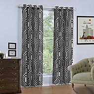 billige Gardiner-Propp Topp Et panel Window Treatment Moderne, Trykk Geometrisk Stue Lin/ Polyester Blanding Materiale gardiner gardiner Hjem Dekor