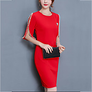 cheap -Women's Plus Size Going out Sheath Dress - Solid Colored Red, Beaded Spring Cotton Black Red XXXL 4XL XXXXXL / Slim
