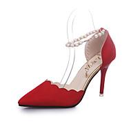 Dam Skor Konstläder Sommar Komfort / Slouch stövlar Klackar Promenad Stilettklack Spetsig tå Pärla / Spänne Armégrön / Röd / Rosa