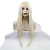 Kvinder Syntetiske parykker Blonde Forside Lang Rett Bleik Blond Naturlig hårlinje Midtskill Naturlig parykk Halloween parykk Karneval