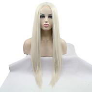 Mulher Perucas sintéticas Frente de Malha Longo Liso Bleach Loiro Repartida ao Meio Riscas Naturais Peruca de Halloween Peruca de