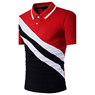 Men's Active / Sophisticated Cotton Slim Polo - Color Block Patchwork Shirt Collar Black L / Short Sleeve / Summer
