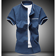 Men's Cotton Slim Shirt - Solid Colored Basic Standing Collar / Short Sleeve / Summer