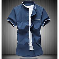 Masculino Camiseta Casual SimplesEstampa Colorida Algodão Colarinho de Camisa Manga Curta