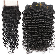 7A Indian Human Virgin Hair Deep Wave 4*4 Lace Closure With 4 Bundles Hair Weft