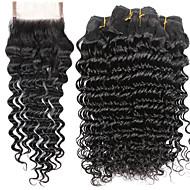 Menneskehår Vevet Indisk hår Dyp Bølge 6 måneder 5 deler hår vever