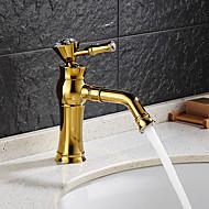 halpa -Nykyaikainen Art Deco/Retro Moderni Integroitu Vesiputous Keraaminen venttiili Yksi reikä Yksi kahva yksi reikä Ti-PVD , Kylpyhuone Sink