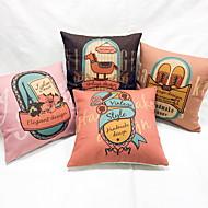 1 個 リネン ソファのクッション 枕プロテクター 枕カバー 抱き枕 旅行用枕,グラフィック メッセージ フローラル柄 静物 エッフェル塔 シティー 屋外 カジュアル レトロ風 クラシック 装飾