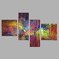 billige -Håndmalte Abstrakt Dyr Horisontal,Moderne Fire Paneler Lerret Hang malte oljemaleri For Hjem Dekor