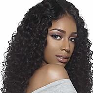 Synthetische pruiken Gekruld Synthetisch haar Natuurlijke haarlijn / Middenscheiding / Afro-Amerikaanse pruik Zwart Pruik Dames Gemiddelde Lengte Zonder kap Zwart