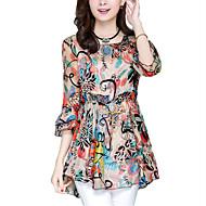 Løstsiddende Dame - Multi Farve Trykt mønster Bluse