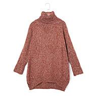 Žene Jednostavno / Ulični šik Ležerno/za svaki dan Regularna Pullover,Crvena / Siva / Zelena Jednobojni Dolčevita Dugih rukava Poliester