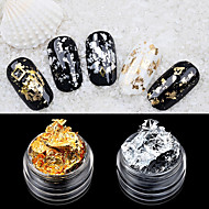 2PCS Foil Nail Art Decoration Golden Silver Foil