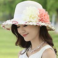 Per donna Kentucky Derby Moda città Cappello da sole-Paglia Collage Estate Beige