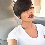Etérea natural preto cabelo curto peruca de cabelo humano adequado para todos os tipos de pessoas