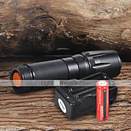 halpa -UltraFire W-878 LED taskulamput LED 1800 lm 5 Tila LED Akuilla ja laturilla Säädettävä fokus Telttailu/Retkely/Luolailu