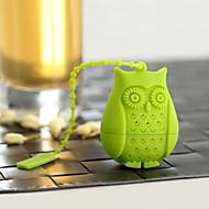 1pcs criativo coruja chá chá rosas filtro para gel de silicone chá chá chá coador (cor aleatória)
