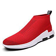 Men's Sneakers Spring Summer Fall Comfort Light Soles Tulle Outdoor Casual Flat Heel Walking Shoes Black Red Grey