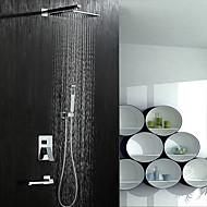 Moderní Sprchový systém Dešťová sprcha Široká baterie Včetne sprchové hlavice Keramický ventil S pěti otvory Dvěma uchy pěti jamkách