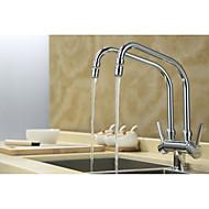 cheap Kitchen Faucets-Contemporary Standard Spout Centerset Rotatable Ceramic Valve Two Handles Two Holes Chrome , Kitchen faucet