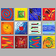 halpa -Maalattu Abstrakti Neliö,Moderni yli 5 paneeli Kanvas Hang-Painted öljymaalaus For Kodinsisustus