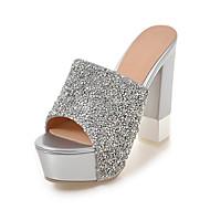 baratos Sapatos de Tamanho Pequeno-Mulheres Sapatos Sintético Verão / Outono Chanel Sandálias Salto Robusto / Salto de bloco Ponta Redonda Lantejoulas Branco / Prata
