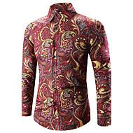 Heren Vintage / Boho Print Grote maten - Overhemd Katoen Paisley Klassieke boord Slank Goud XXXL / Lange mouw / Lente / Herfst