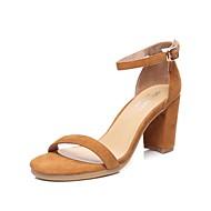 baratos Sapatos de Tamanho Pequeno-Mulheres Sapatos Couro Ecológico Verão Chanel Sandálias Salto Robusto para Casual Branco Marron Amêndoa